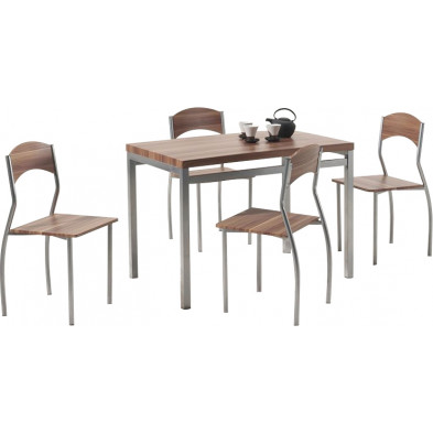 Ensemble tables & chaises marron design en acier L 110 cm x H 76 cm x P 70 cm  collection Bruin