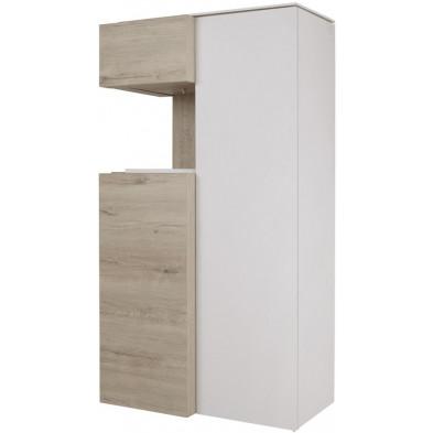 Argentier - vaisselier - vitrine design beige et blanc en bois MDF et panneaux de particules mélaminés L. 90.4 x P. 48.4 x H. 168.2 cm Collection Darlene