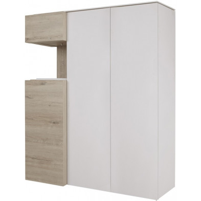 Argentier - vaisselier - vitrine design beige et blanc en bois MDF et panneaux de particules mélaminés L. 135.8 x P. 48.4 x H. 168.2 cm Collection Darlene