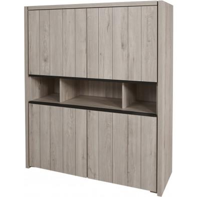 Argentier - meuble bar design gris et noir en bois MDF et panneaux de particules mélaminés L. 139.8 x P. 50 x H. 165.1 cm Collection Brett
