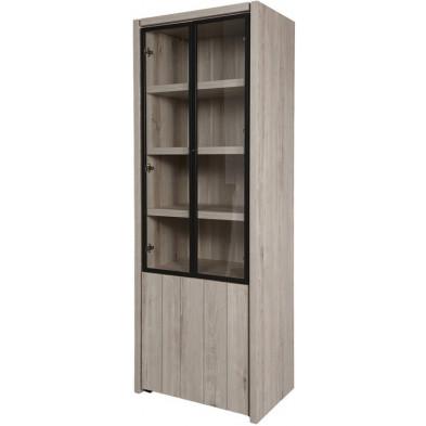 Argentier - vaisselier - vitrine design gris et noir en bois MDF et panneaux de particules mélaminés L. 74.6 x P. 50 x H. 205.4 cm Collection Brett