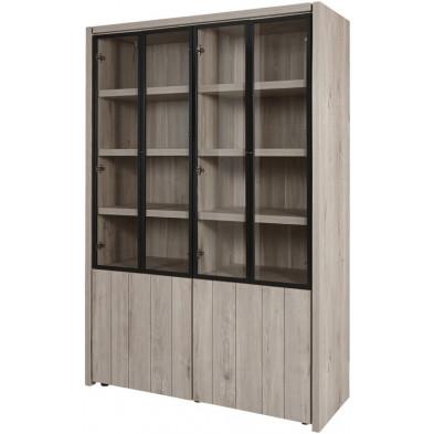 Argentier - vaisselier - vitrine design gris et noir en bois MDF et panneaux de particules mélaminés L. 139.8 x P. 50 x H. 205.4 cm Collection Brett