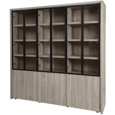 Argentier - meuble bar design gris et noir en bois MDF et panneaux de particules mélaminés L. 205 x P. 50 x H. 205.4 cm Collection Brett