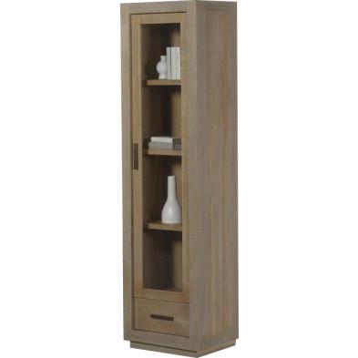 Argentier - vaisselier - vitrine design marron en bois MDF et panneaux de particules mélaminés L. 55 x P. 45 x H. 210 cm Collection Ballast