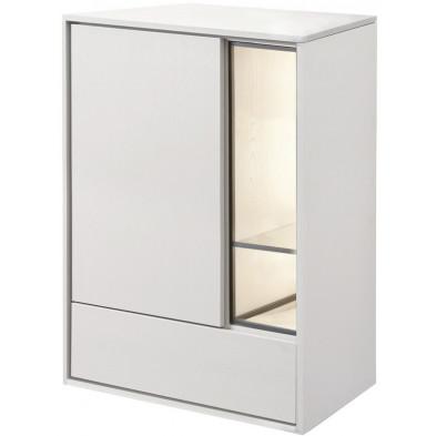 Argentier - meuble bar design blanc et noir en bois MDF et panneaux de particules mélaminés L. 73.8 x P. 40 x H. 104.6 cm Collection Septimus