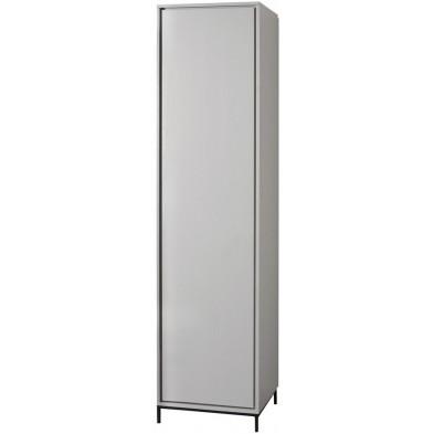 Colonne 1 portes design blanc en bois MDF et panneaux de particules mélaminés L. 50.9 x P. 40 x H. 209.6 cm Collection Septimus