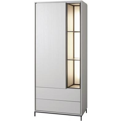Argentier - vaisselier - vitrine design blanc et noir en bois MDF et panneaux de particules mélaminés L. 89.1 x P. 50 x H. 209.6 cm Collection Septimus