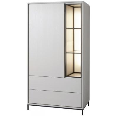 Argentier - vaisselier - vitrine design blanc et noir en bois MDF et panneaux de particules mélaminés L. 89.1 x P. 50 x H. 166.8 cm Collection Septimus