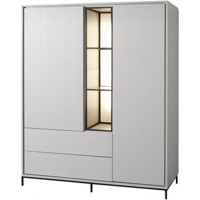 Argentier - vaisselier - vitrine design blanc et noir en bois MDF et panneaux de particules mélaminés L. 135.1 x P. 50 x H. 166.8 cm Collection Septimus