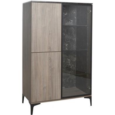Argentier - vaisselier - vitrine design gris et marron en bois MDF et panneaux de particules mélaminés L. 93.9 x P. 50 x H. 154.2 cm Collection Easton