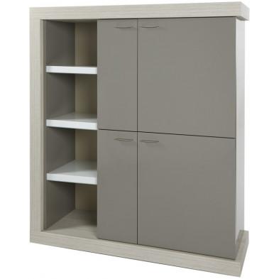Argentier - meuble bar design blanc et gris en bois MDF et panneaux de particules mélaminés L. 138.5 x P. 50 x H. 157.6 cm Collection Schellebelle