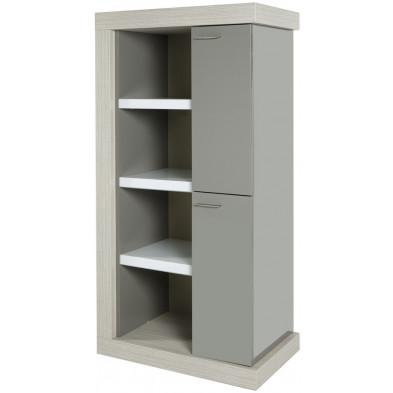 Argentier - meuble bar design blanc et gris en bois MDF et panneaux de particules mélaminés L. 83.7 x P. 50 x H. 157.6 cm Collection Schellebelle