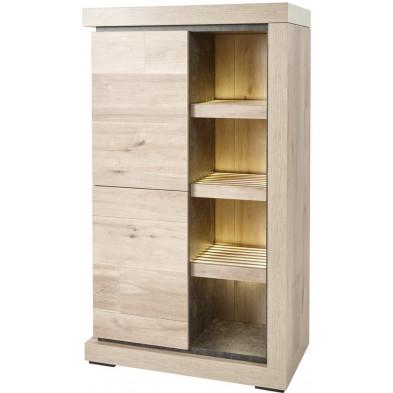 Argentier - vaisselier - vitrine design gris et marron en bois MDF et panneaux de particules mélaminés L. 91.6 x P. 50 x H. 158.4 cm Collection Orth