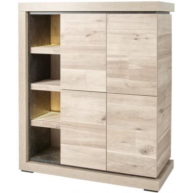 Argentier - vaisselier - vitrine design gris et marron en bois MDF et panneaux de particules mélaminés L. 136.9 x P. 50 x H. 158.4 cm Collection Orth