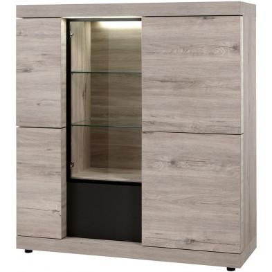 Argentier - vaisselier - vitrine design beige et noir en bois MDF et panneaux de particules mélaminés L. 138.4 x P. 50 x H. 155 cm Collection Persaud