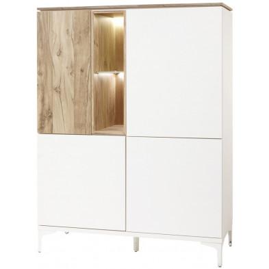 Argentier - vaisselier - vitrine design blanc et marron en bois MDF et panneaux de particules mélaminés L. 123 x P. 163.9 x H. 50 cm Collection Shaver