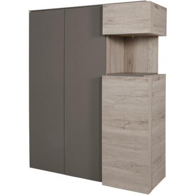 Argentier - vaisselier - vitrine design beige et gris en bois MDF et panneaux de particules mélaminés L. 135.8 x P. 48.4 x H. 168.2 cm Collection Darlene