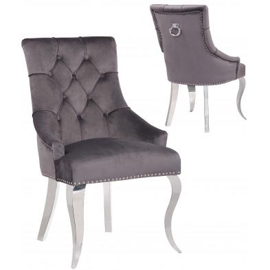 Lot de 2 Chaises de salle à manger design capitonné revêtement en velours gris foncé et piètement baroque en acier inoxydable argenté  collection ANGELO