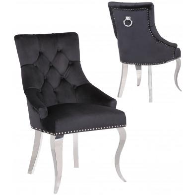 Lot de 2 Chaises de salle à manger design capitonné revêtement en velours noir et piètement baroque en acier inoxydable argenté  collection ANGELO