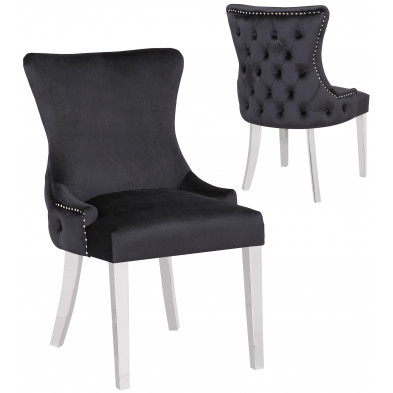 Lot de 2 Chaises de salle à manger design avec capitonnage à l'arriere revêtement en velours noir et piètement en acier inoxydable argenté  collection LEO