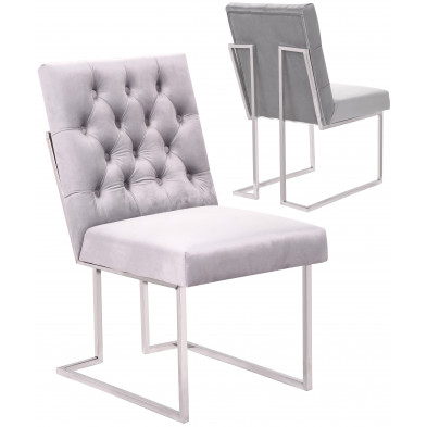 Lot de 2 Chaises de salle à manger design revêtement en velours gris clair et piètement en acier inoxydable argenté  collection DINO