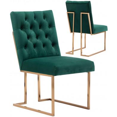 Lot de 2 Chaises de salle à manger design revêtement en velours vert foncé et piètement en acier inoxydable doré collection DINO