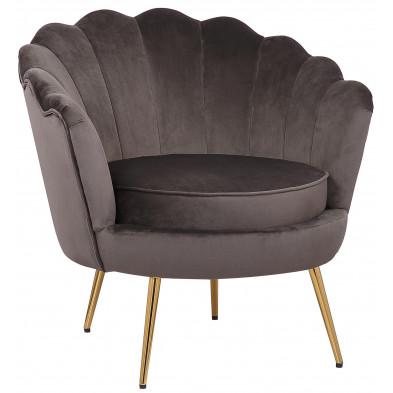 Fauteuil design revetement en velour gris foncé et piètement en acier doré collection CESAR L. 81 x P. 82 x H. 74.5 cm