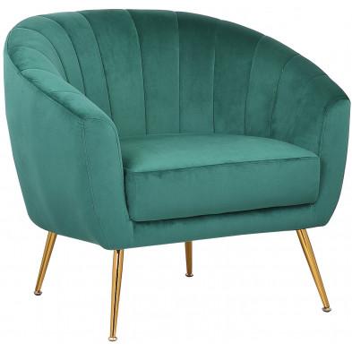 Fauteuil design revetement en velour vert et piètement en acier doré collection RONALDO L. 88 x P. 74.5 x H. 76.5 cm