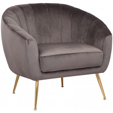 Fauteuil design revetement en velour gris foncé et piètement en acier doré collection RONALDO L. 88 x P. 74.5 x H. 76.5 cm