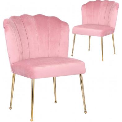 Lot de 2 Chaises de salle à manger design revêtement en velours rose et piètement en acier doré collection NORA