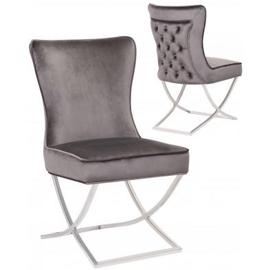 Chaise de salle à manger design avec capitonnage à l'arriere revetement en velour gris foncé et piètement croisée en acier inoxydable argenté collection collection CAVALLI