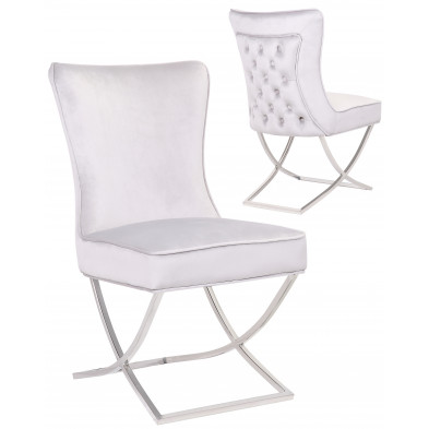 Chaise de salle à manger design avec capitonnage à l'arriere revetement en velour gris clair et piètement croisée en acier inoxydable argenté collection collection CAVALLI