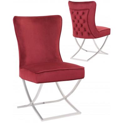 Chaise de salle à manger design avec capitonnage à l'arriere revetement en velour bordo et piètement croisée en acier inoxydable argenté collection collection CAVALLI