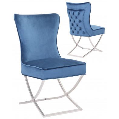 Chaise de salle à manger design avec capitonnage à l'arriere revetement en velour bleu et piètement croisée en acier inoxydable argenté collection CAVALLI
