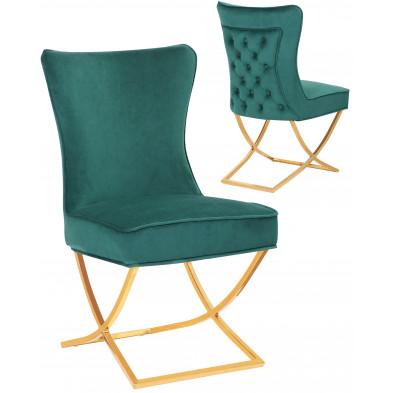 Chaise de salle à manger design avec capitonnage à l'arriere revetement en velour vert foncé et piètement croisée en acier inoxydable doré collection CAVALLI