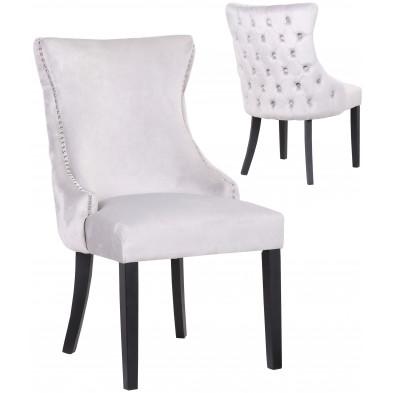 Lot de 2 Chaises de salle à manger contemporain avec capitonnage à l'arriere en velour gris clair et piètement en bois massif noir collection BOSTON