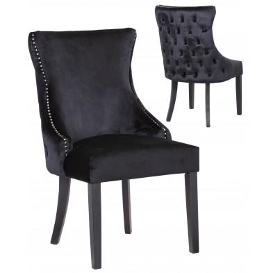 Lot de 2 Chaises de salle à manger contemporain avec capitonnage à l'arriere en velour noir et piètement en bois massif noir collection BOSTON