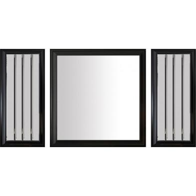 Lot de 3 miroirs design en bois 100% mdf laqué noir avec miroir fumé collection Angel L. 40-90-40 x P. 3-3-3 x H. 90-90-90 cm