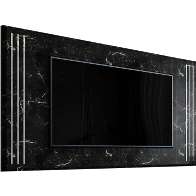 Panneau mural arrière pour tv imitation marbre noir laqué en bois 100% mdf 175x102cm collection angel