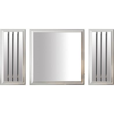 Lot de 3 miroirs design en bois 100% mdf laqué blanc avec miroir fumé collection Angel L. 40-90-40 x P. 3-3-3 x H. 90-90-90 cm