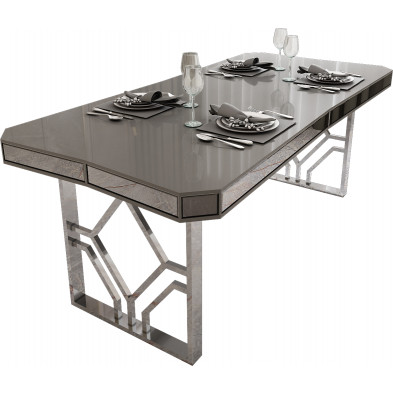 Table de salle à manger design plateau en bois 100% laqué gris clair avec des miroirs fumé sur les contours et un piètement en acier chromé argenté 195x91.5cm collection Lexus