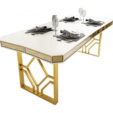 Table de salle à manger design en bois MDF laqué beige avec miroir bronze sur le contour et un piètement en acier doré L. 195 x P. 91.5 x H. 76.5 cm collection LEXUS