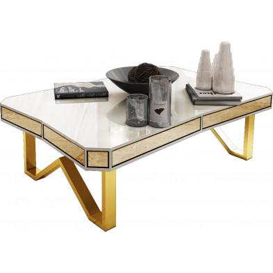 Table basse design en bois mdf laqué beige avec contour en miroir bronze et piètement en acier chromé doré 130x80cm collection Lexus