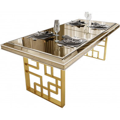 Table à manger design plateau en miroir bronze avec  piètement en acier chromé doré 200x95x76cm collection Monaco