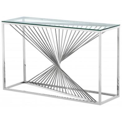 Console design piètement en acier inoxydable poli argenté et plateau en verre trempé transparent L. 120 x P. 40 x H. 78 cm collection BOLZANO