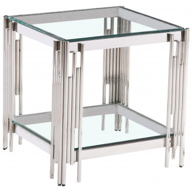 Table d'appoint design en acier inoxydable poli argenté et plateau en verre trempé transparent  L. 55 x P. 55 x H. 55 cm collection MILANO