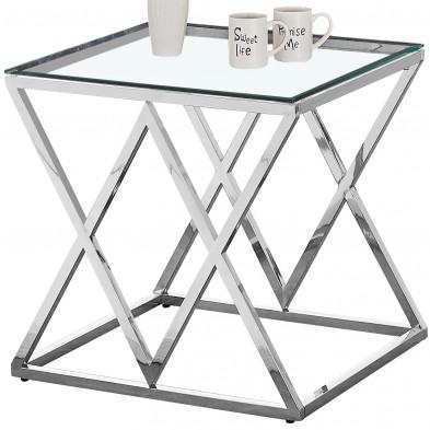 Table d'appoint design en acier inoxydable poli argenté et plateau en verre trempé transparent  L. 55 x P. 55 x H. 55 cm collection ROMA