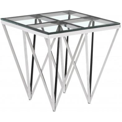 Table d'appoint design en acier inoxydable poli argenté et plateau en verre trempé transparent  L. 55 x P. 55 x H. 52 cm collection VERONA