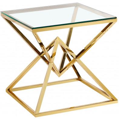 Table d'appoint design en acier inoxydable poli doré et plateau en verre trempé transparent L. 55 x P. 55 x H. 55 cm collection PARMA