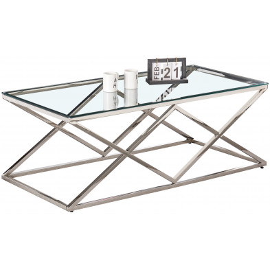 Table basse design en acier inoxydable poli argenté et plateau en verre trempé transparent  L. 120 x P. 60 x H. 45 cm collection ROMA